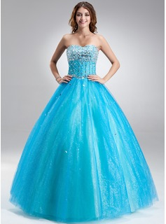 Ball-Gown Sweetheart Floor-Length Satin Tulle Quinceanera Dress With Beading