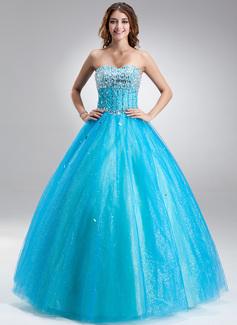 Corte de baile Escote corazón Vestido Satén Tul Vestido de quinceañera con Bordado