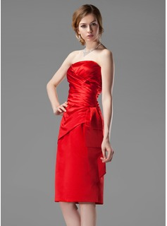 Sheath Strapless Knee-Length Satin Bridesmaid Dress With Ruffle (007001801)