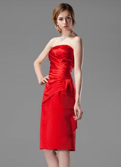Sheath/Column Strapless Knee-Length Satin Bridesmaid Dress With Ruffle