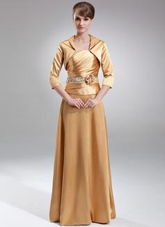 Vestidos princesa/ Formato A Sem Alças Chá comprimento Charmeuse Vestido para a mãe da noiva com Pregueado Bordado fecho de correr Lantejoulas