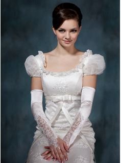 Elastic Satin Lace Elbow Gloves (014020514)