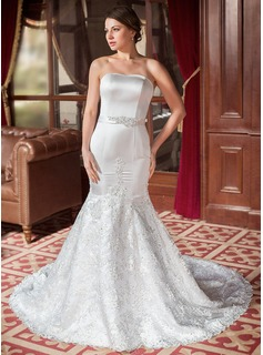 Trumpet/Mermaid Sweetheart Chapel Train Satin Tulle Lace Wedding Dress With Beading Sequins Bow(s)