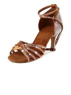 De mujer Satén Tacones Sandalias Danza latina Sala de Baile Salsa Matrimonio Partido con Rhinestone Tira de tobillo Zapatos de Danza