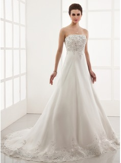 A-Line/Princess Sweetheart Chapel Train Satin Tulle Wedding Dress With Embroidery Lace Beadwork (002000179)