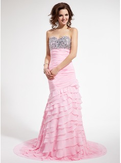 Mermaid Sweetheart Sweep Train Chiffon Prom Dress With Ruffle Beading (018018824)