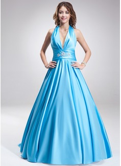 A-Line/Princess Halter Sweep Train Satin Prom Dress With Ruffle Beading