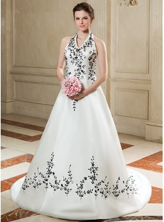 A-Line/Princess Halter Court Train Satin Wedding Dress With Embroidery