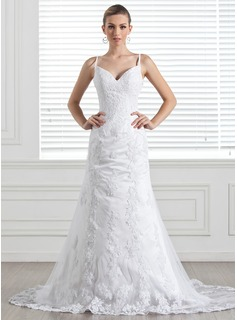 A-Line/Princess Sweetheart Chapel Train Satin Tulle Wedding Dress With Lace