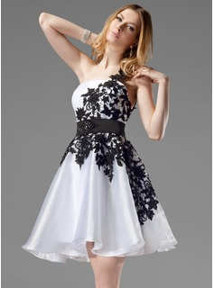 A-Line/Princess One-Shoulder Short/Mini Organza Satin Homecoming Dress With Lace Sash Beading (022004454)