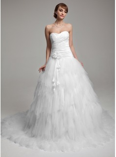Ball-Gown Sweetheart Chapel Train Taffeta Tulle Wedding Dress With Ruffle Flower(s)