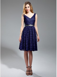 A-Line/Princess V-neck Knee-Length Charmeuse Lace Bridesmaid Dress With Beading (007019657)