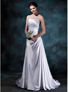 Sheath/Column Strapless Court Train Charmeuse Wedding Dress With Ruffle (002012060)