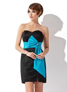 Sheath/Column Sweetheart Short/Mini Satin Cocktail Dress With Sash Beading