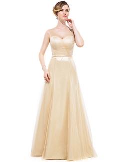 A-Line/Princess V-neck Floor-Length Tulle Charmeuse Bridesmaid Dress With Ruffle Bow(s)