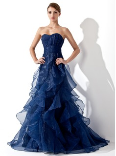 A-Line/Princess Sweetheart Sweep Train Organza Prom Dress With Ruffle (018004861)