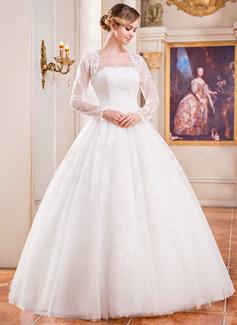 Corte de baile Estrapless Hasta el suelo Tul Vestido de novia con Encaje