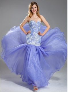 Mermaid Sweetheart Floor-Length Organza Charmeuse Prom Dress With Lace Beading (018019004)