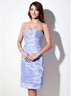 Sheath Sweetheart Knee-Length Taffeta Cocktail Dress With Ruffle Beading (016016049)