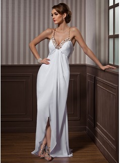 Sheath Sweetheart Asymmetrical Chiffon Tulle Evening Dress With Beading