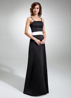 A-Line/Princess Floor-Length Satin Bridesmaid Dress With Sash