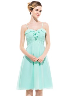 Empire Sweetheart Knee-Length Chiffon Bridesmaid Dress With Cascading Ruffles