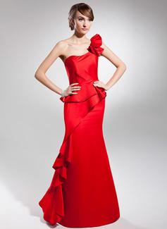 Corte trompeta/sirena Un sólo hombro Vestido Satén Vestido de baile de promoción con Cascada de volantes