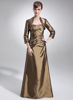 Vestidos princesa/ Formato A Coração Longos Tafetá Vestido para a mãe da noiva com Pregueado Bordado