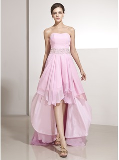 A-Line/Princess Sweetheart Asymmetrical Chiffon Holiday Dress With Beading Cascading Ruffles