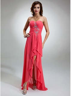 A-Line/Princess Sweetheart Asymmetrical Chiffon Prom Dress With Ruffle Beading (018016373)