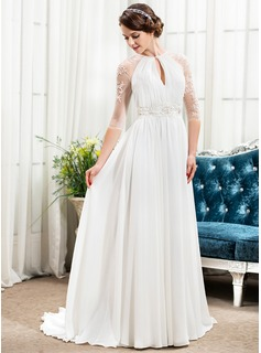 A-Line/Princess Scoop Neck Sweep Train Chiffon Tulle Wedding Dress With Ruffle Beading Sequins