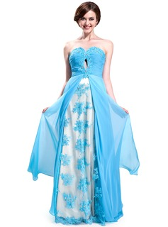 A-Line/Princess Sweetheart Floor-Length Chiffon Charmeuse Lace Prom Dress With Ruffle Beading