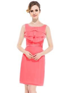 Sheath/Column Scoop Neck Knee-Length Chiffon Charmeuse Bridesmaid Dress With Ruffle Cascading Ruffles