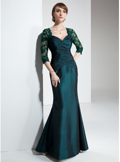 Mermaid Sweetheart Floor-Length Taffeta Lace Mother of the Bride Dress With Ruffle (008005634)