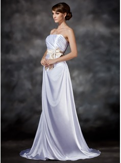 A-Line/Princess Strapless Sweep Train Charmeuse Wedding Dress With Ruffle Lace Sashes Beadwork (002021292)