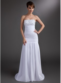 Mermaid Strapless Sweep Train Chiffon Prom Dress With Ruffle Beading (018004838)