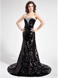 Mermaid Sweetheart Court Train Sequined Prom Dress With Beading