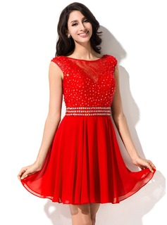 A-Line/Princess Scoop Neck Short/Mini Chiffon Lace Homecoming Dress With Beading Sequins