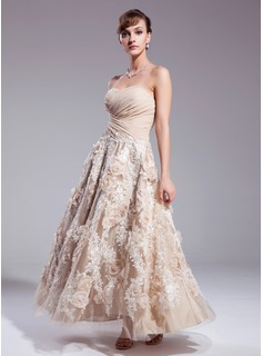 A-Line/Princess Sweetheart Ankle-Length Chiffon Satin Lace Wedding Dress With Ruffle Flower(s) Sequins (002012841)