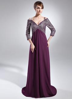 Vestidos princesa/ Formato A Sem o ombro Sweep/Brush trem De chiffon Renda Vestido para a mãe da noiva com Bordado Lantejoulas