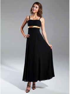 Empire Sweetheart Ankle-Length Chiffon Satin Bridesmaid Dress With Sash