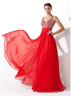 A-Linie/Princess-Linie V-Ausschnitt Bodenlang Chiffon Ballkleid mit Rschen Perlen verziert Paillette (018005105)