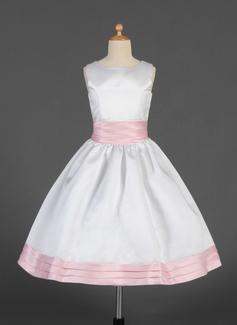 Corte A/Princesa Escote redondo Té de longitud Satén Vestido para niña de arras con Fajas