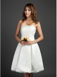 A-Line/Princess Strapless Knee-Length Satin Wedding Dress With Ruffle