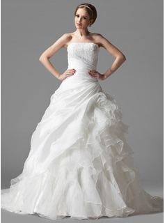 Ball-Gown Strapless Court Train Taffeta Organza Wedding Dress With Ruffle Lace (002004523)