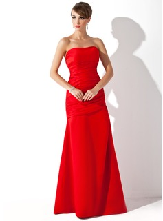 Trumpet/Mermaid Strapless Floor-Length Satin Bridesmaid Dress With Ruffle