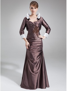A-Line/Princess Sweetheart Floor-Length Taffeta Mother of the Bride Dress With Ruffle Lace Beading (008006516)