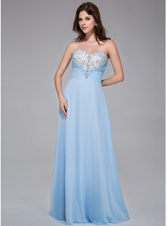 A-Line/Princess Sweetheart Floor-Length Chiffon Tulle Prom Dress With Ruffle Beading