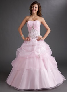 Ball-Gown Sweetheart Floor-Length Organza Quinceanera Dress With Embroidered Ruffle Beading Sequins (021003115)