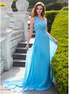 A-Line/Princess One-Shoulder Court Train Chiffon Prom Dress With Ruffle Beading